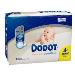 DODOT SENSITIVE PROTECTION PLUS TALLA 2 (4 - 8 KG) 34 UNIDADES