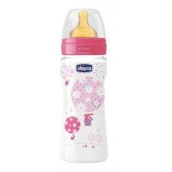 Chicco Biberon Latex Rosa Flujo Rapido +4M 330 ml