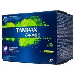 TAMPAX COMPACK SUPER 100% ALGODON 22 UNIDADES