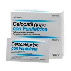 Gelocatil gripe Forte con Fenilefrina 650/4/10 mg 10 Sobres Polvo Solucion Oral