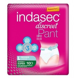 INDASEC DISCREET PANT SUPER ABSORBENTE T- GRANDE 10 UNIDADES